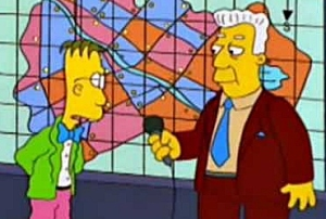 Kent Brockman interviewing Professor Frink from the Simpsons