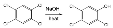 2,3,4,5 benzene with NaOH and heat results in 2,3,4 phenol