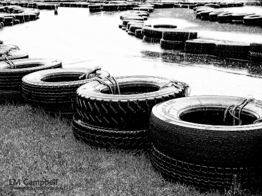 Tires lining a go-kart track
