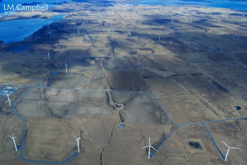 Wolfe Island wind turbines from air