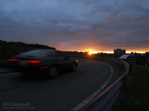 Driving into the sunset on the Halifax Citadel