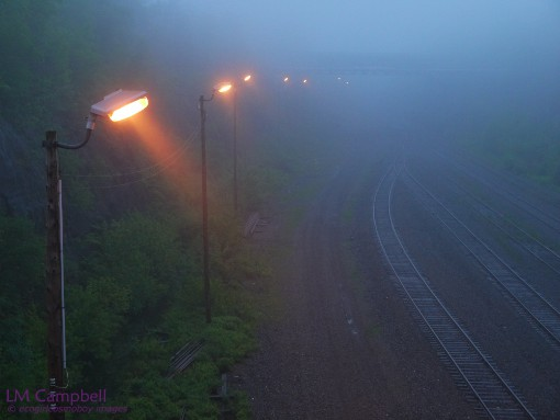 Street lights by a train track on a foggy night in Halifax